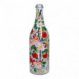 Стеклянная бутылка 1 л «Вишня» с ручной росписью